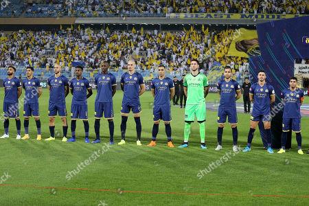 Players of Al-Nassr line up before the Saudi Professional League soccer match between Al-Nassr and AL-Faisaly at Prince Faisal Bin Fahd Stadium, Al-Riyadh, Saudi Arabia,06 November 2019.