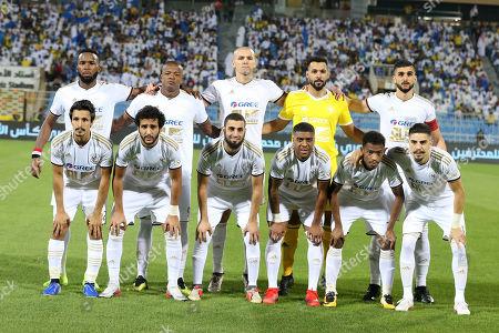 Players of AL-Faisaly line up before the Saudi Professional League soccer match between Al-Nassr and AL-Faisaly at Prince Faisal Bin Fahd Stadium, Al-Riyadh, Saudi Arabia, 06 November 2019.