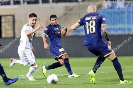 Stock Picture of Al-Nassr player Maicon Pereira Roque (R) in action against AL-Faisaly player Luisinho (L) during the Saudi Professional League soccer match between Al-Nassr and AL-Faisaly at Prince Faisal Bin Fahd Stadium, Al-Riyadh, Saudi Arabia, 06 November 2019.