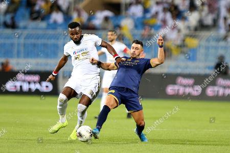 Al-Nassr player Giuliano Victor (R) in action against AL-Faisaly player Khaleem Hyland (L) during the Saudi Professional League soccer match between Al-Nassr and AL-Faisaly at Prince Faisal Bin Fahd Stadium, Al-Riyadh, Saudi Arabia, 06 November 2019.
