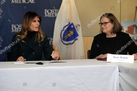Melania Trump, Kate Walsh. First lady Melania Trump, left, and President and CEO of Boston Medical Center Kate Walsh, right, participate in a round table discussion during a visit to the medical center, in Boston