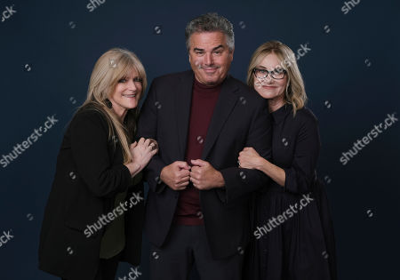 """Maureen McCormick, Christopher Knight, Susan Olsen. Susan Olsen, left, Christopher Knight, center, and Maureen McCormick, cast members in the HGTV series """"A Very Brady Renovation,"""" pose together for a portrait during the 2019 Television Critics Association Summer Press Tour at the Beverly Hilton, in Beverly Hills, Calif"""