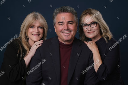 """Stock Photo of Maureen McCormick, Christopher Knight, Susan Olsen. Susan Olsen, left, Christopher Knight, center, and Maureen McCormick, cast members in the HGTV series """"A Very Brady Renovation,"""" pose together for a portrait during the 2019 Television Critics Association Summer Press Tour at the Beverly Hilton, in Beverly Hills, Calif"""