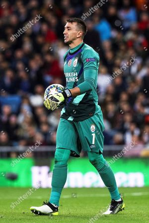 Galatasaray's goalkeeper Fernando Muslera reacts during the UEFA Champions League group A soccer match between Real Madrid and Galatasaray Istanbul at the Santiago Bernabeu Stadium in Madrid, Spain, 06 November 2019.