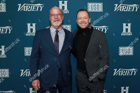 """Kevin Wade and Donnie Wahlberg attend Variety's third annual """"Salute to Service"""" celebration at Cipriani 25 Broadway, in New York"""