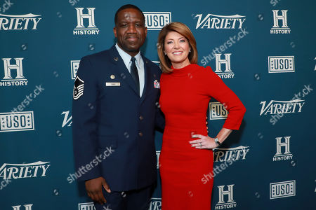 """Kenton Young and Norah O'Donnell attend Variety's third annual """"Salute to Service"""" celebration at Cipriani 25 Broadway, in New York"""