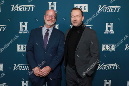 "Kevin Wade and Donnie Wahlberg attend Variety's third annual ""Salute to Service"" celebration at Cipriani 25 Broadway, in New York"