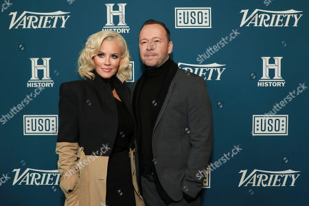 "Jenny McMarthy and Donnie Wahlberg. Jenny McCarthy, left, and Donnie Wahlberg attend Variety's third annual ""Salute to Service"" celebration at Cipriani 25 Broadway, in New York"