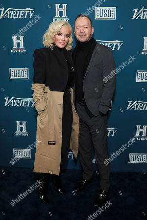 "Jenny McCarthy and Donnie Wahlberg attend Variety's third annual ""Salute to Service"" celebration at Cipriani 25 Broadway, in New York"