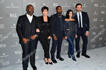 Stock Image of Corey Gamble, Kris Jenner, Kanye West, Kim Kardashian West and Riccardo Tisci