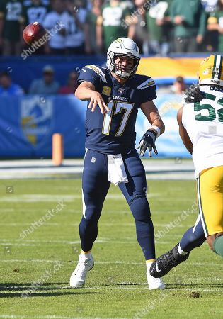 Los Angeles Chargers quarterback Philip Rivers (17) passes the ball during an NFL football game against the Green Bay Packers, in Carson, Calif. The Chargers defeated the Packers 26-11