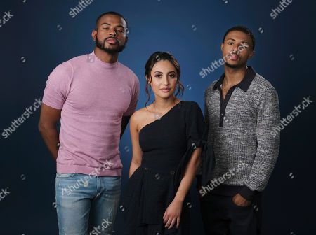 """Trevor Jackson, Francia Raisa, Diggy Simmons. From left, Trevor Jackson, Francia Raisa and Diggy Simmons, cast members in the Freeform series """"Grown-ish,"""" pose together for a portrait, in Burbank, Calif"""