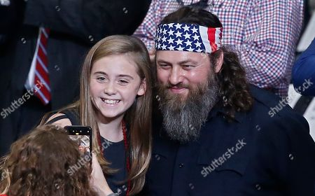 Willie Robertson (R) an American TV personality and known for his role in television show Duck Dynasty poses for pictures while at the United States President Donald J. Trump Keep America Great Rally inside the Monroe Civic Center in Monroe, Louisiana, USA, 06 November 2019.