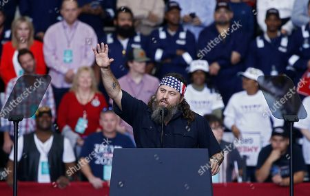 Willie Robertson, an American TV personality and known for his role in television show Duck Dynasty, speaks to the crowd at the US President Donald J. Trump Keep America Great Rally inside the Monroe Civic Center in Monroe, Louisiana, USA, 06 November 2019.