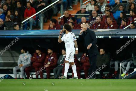 Head coach Zinedine Zidane and Marcelo of Real Madrid