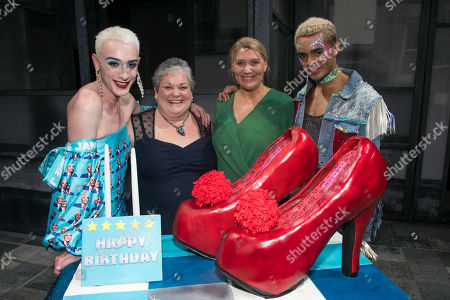 Jamie Campbell, Margaret Campbell, Layton Williams (Jamie) and Melissa Jacques (Margaret) backstage