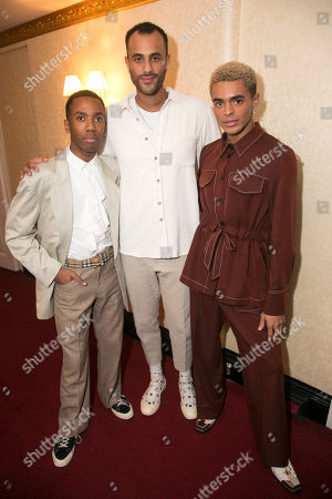 Jordan Laviniere (Cy), Momar Diagne (Understudy Jame's Dad/Drag Queens) and Layton Williams (Jamie New) backstage