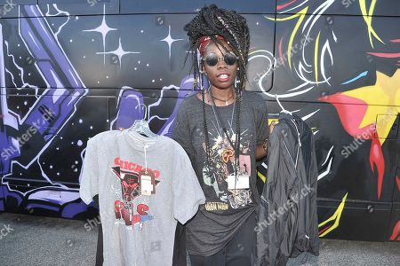 Lyric Michelle of Los Angeles shopping Chris Brown's yard sale at Brown's home in the Tarzana neighborhood of the San Fernando Valley, in Los Angeles