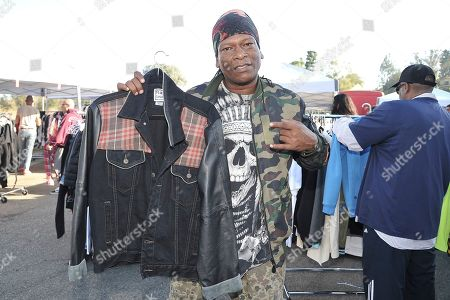 Stock Photo of EDDIEB of North Hollywood shopping Chris Brown's yard sale at Brown's home in the Tarzana neighborhood of the San Fernando Valley, in Los Angeles