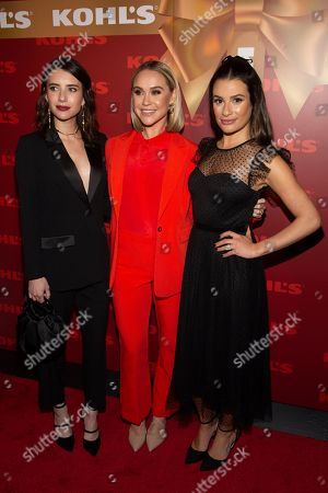 "Emma Roberts, Becca Tobin, Lea Michele. Emma Roberts, from left, Becca Tobin and Lea Michele attends Kohl's ""New Gifts at Every Turn"" holiday shopping event, in New York"