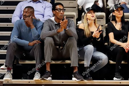 Stock Picture of Former Chicago Bulls star Scottie Pippen, second from left, watches an NCAA college basketball game between Vanderbilt and Southeast Missouri State, in Nashville, Tenn. Pippen's son, Scotty Pippen Jr., plays for Vanderbilt