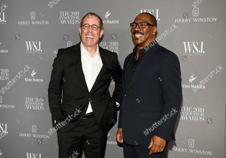 Jerry Seinfeld, Eddie Murphy. Comedian Jerry Seinfeld, left, and honoree actor-comedian Eddie Murphy pose together at the WSJ. Magazine 2019 Innovator Awards at the Museum of Modern Art, in New York
