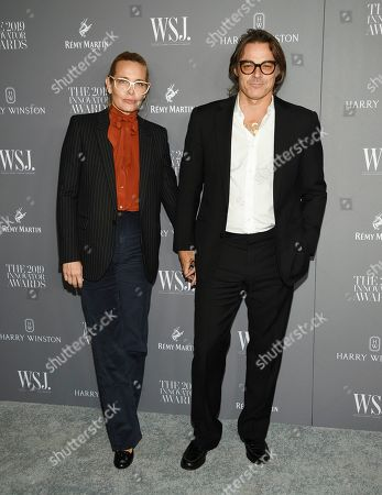 Stock Photo of Mary Frey, Mario Sorrenti. Mary Frey, left, and Mario Sorrenti attend the WSJ. Magazine 2019 Innovator Awards at the Museum of Modern Art, in New York