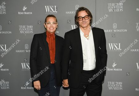 Stock Picture of Mary Frey, Mario Sorrenti. Mary Frey, left, and Mario Sorrenti attend the WSJ. Magazine 2019 Innovator Awards at the Museum of Modern Art, in New York