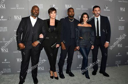 Corey Gamble, Kris Jenner, Kanye West, Kim Kardashian West, Riccardo Tisci. Corey Gamble, left, Kris Jenner, Kanye West, Kim Kardashian West and honoree Riccardo Tisci pose together at the WSJ. Magazine 2019 Innovator Awards at the Museum of Modern Art, in New York