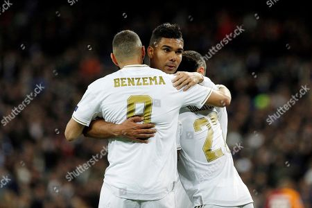 Carlos H. Casemiro, Karim Benzema and Rodrygo Goes of Real Madrid celebrate after scoring a goal