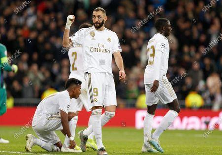 Karim Benzema of Real Madrid celebrates after scoring a goal