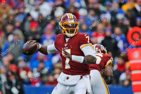 Washington Redskins quarterback Dwayne Haskins looks to throw during the first half of an NFL football game against the Buffalo Bills, in Orchard Park, N.Y. The Redskins at the bye week of a lost season are a team without a definitive answer at quarterback, answers to questions on offense and defense and a visible organizational plan for the future