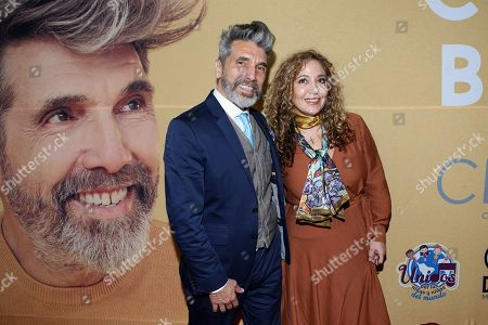 Argentine singer Diego Verdaguer (L) and his daughter Ximena (R) pose for photos before the presentation of his most recent record 'Corazon Bambino', at the Soumaya Museum in Mexico City, Mexico, 06 November 2019.