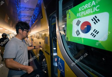 South Korea head coach Kim Jung-soo gets on the team's bus upon arriving at an airport in Vitoria, Brazil, 06 November 2019. South Korea will face Mexico in the FIFA U-17 World Cup quarter-final soccer match on 10 November at Estádio Kléber Andrade in Cariacica, Brazil.