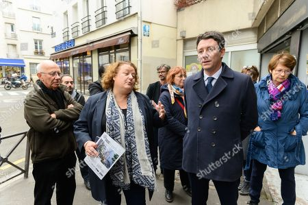 Benjamin Griveaux, candidate for mayor of Paris in 2020 for La Republique en Marche with the mayor of the 20th district Frederique Calandra.