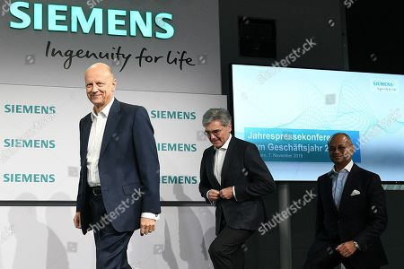 Siemens Chief Financial Officer (CFO) Ralf Peter Thomas (L), Siemens CEO Joe Kaeser (C) and Co-CEO Gas and Power Siemens Gamesa Renewable Energy, Michael Sen (R), arrive at the Siemens annual press conference in Munich, Germany, 07 November 2019.