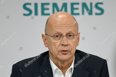 Siemens Chief Financial Officer (CFO) Ralf Peter Thomas speaks during the Siemens annual press conference in Munich, Germany, 07 November 2019.