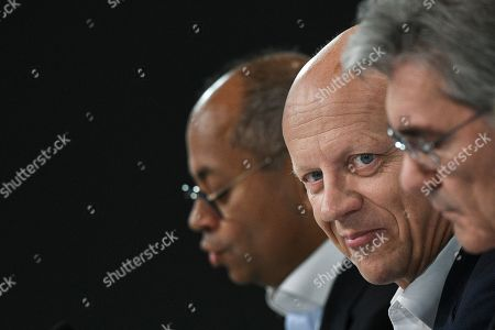 Siemens Chief Financial Officer (CFO) Ralf Peter Thomas (C) looks on during the Siemens annual press conference in Munich, Germany, 07 November 2019.