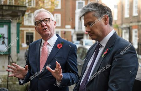 Former Labour MPs Ian Austin and John Woodcock speaking at a press conference in Westminster, London following an interview in which Ian Austin called for people to vote for the Conservative party in order to keep Jeremy Corbyn out of Downing Street. A general election has been called on December 12th in an attempt to get a Brexit agreement through parliament.