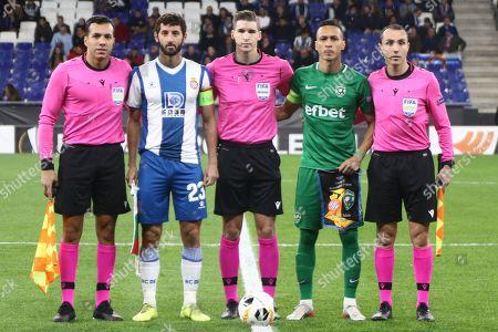 Esteban Granero of RCD Espanyol and Marcelo Nacimiento da Costa of Ludogorets before the kick off