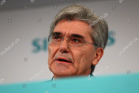 Stock Photo of Joe Kaeser, CEO of German industrial conglomerate Siemens, attends the company's annual press conference in Munich, Germany