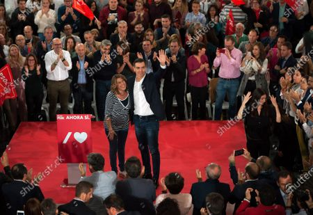Spain's acting Prime Minister and candidate for re-election Pedro Sanchez of the Socialists Workers party and regional president of Andalusia Socialist party Susana Diaz greet their supporters during an electoral campaign in Torremolinos ahead of the November 10th general elections.