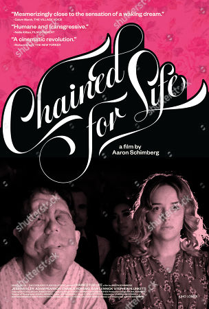 Stock Image of Chained for Life (2018) Poster Art. Adam Pearson as Rosenthal and Jess Weixler as Mabel
