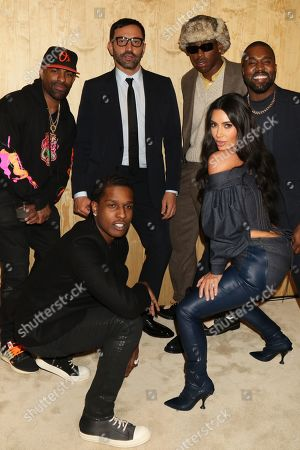 Stock Photo of DJ Clue and ASAP Rocky and Riccardo Tisci and Tyler the Creator, Kim Kardashian West and Kanye West