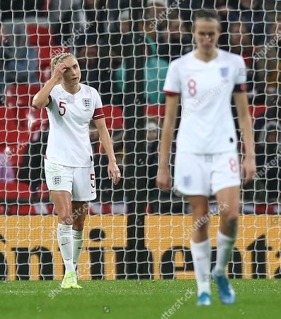 Steph Houghton of England dejected after conceding 2nd goal