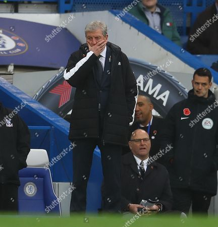 Stock Photo of Crystal Palace manager Roy Hodgson shows a look of dejection