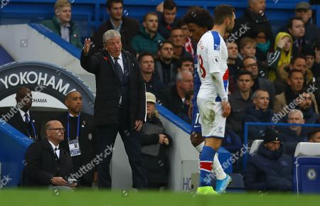 Crystal Palace manager Roy Hodgson gestures on the touchline