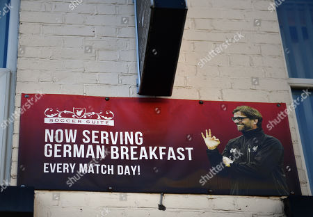 A bed and breakfast near Anfield offering German breakfasts on match day with an image of Liverpool manager Jurgen Klopp
