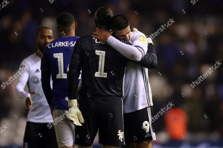 Aleksandar Mitrovic of Fulham embraces Birmingham City goalkeeper Lee Camp at the end of the match