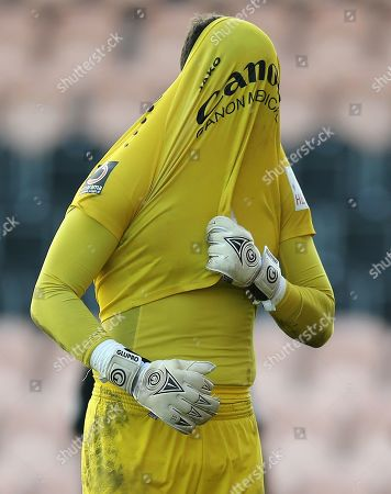 Scott Loach of Barnet  reacts after conceding 2nd goal